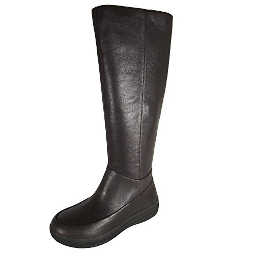 Zip FF Dark Boot Lux Knee Shoe Leather Brown High Womens Fitflop Full agwqW5IRxT
