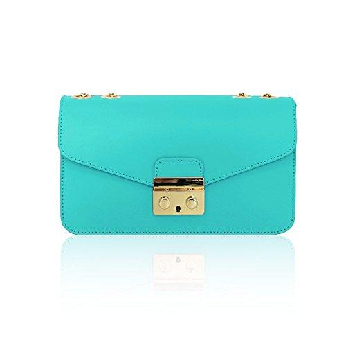 AMELIA Bolsa italiana Clutch Baguette bandolera con la correa de cadena de oro la luz, cuero liso azul turquesa