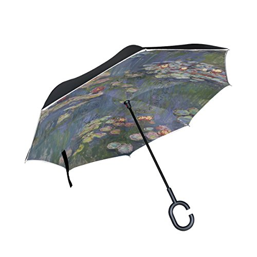 XiangHeFu Double Layer Inverted Reverse Umbrellas Art Project Monet Painting Folding Windproof UV Protection Big Straight for Car with C-Shaped Handle