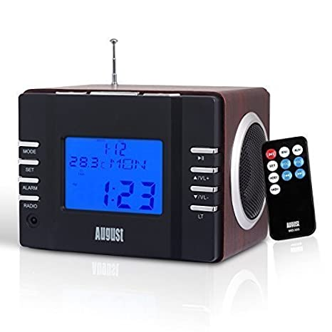 August MB300B Mini Wooden MP3 Stereo System and FM Clock Radio, with Card Reader, USB Port & AUX Jack (3.5mm Audio In), 2 x 3W Powerful Hi-Fi Speakers and Built-in Rechargeable Battery