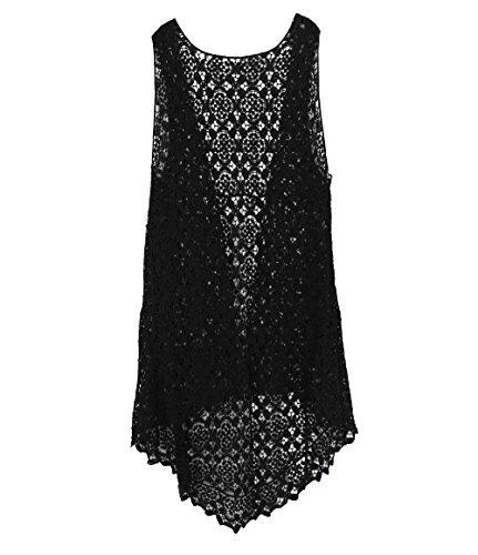 KW Fashion Women#039s Flower Crochet Vest One Size Black