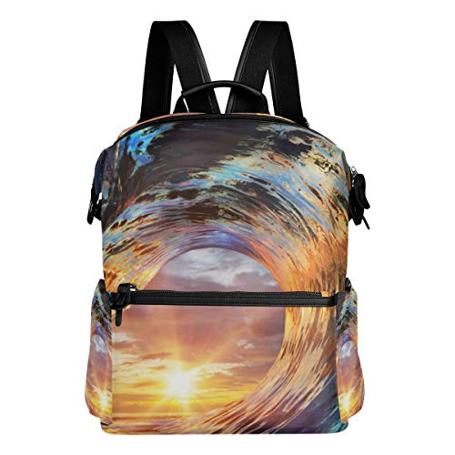TARTINY Colorful Ocean Wave Sea Water Crest Laptop Backpack Leather Strap School Bag Outdoor Travel Casual Daypack