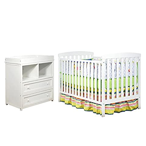 AFG Baby Furniture Athena Leila 2 Piece Convertible Crib Set in White - 3 Drawer Combo Changer