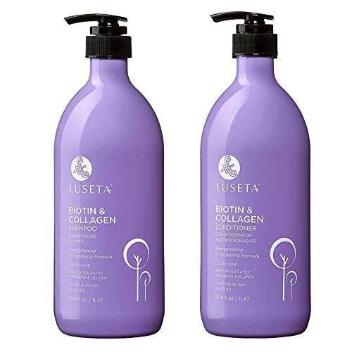 Biotin & Collagen Shampoo Conditioner Set,Thicking Shampoo for Hair Loss & Fast Hair Growth, Sulfate & Paraben Free, Keratin & Color Safe, 2x33.08oz (Best Drugstore Purple Shampoo)