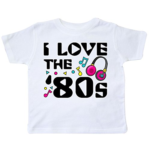 inktastic - I Love The '80s-Musical Notes Toddler T-Shirt 3T White -