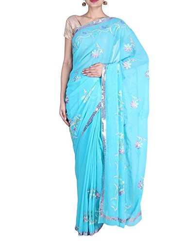 (Rajgharana Exports Sequence Border Resham Work Georgette Party Wear Saree 6.80 mtr with Blouse Sky Blue)