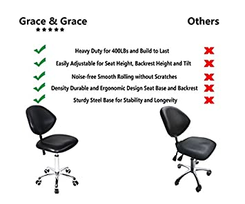 Grace Grace Professional Office Series Height Adjustable with Ergonomic Tilting Backrest for Drafting,Computer,Studio,Workshop,Classroom, Lab, Counter Classic, Black