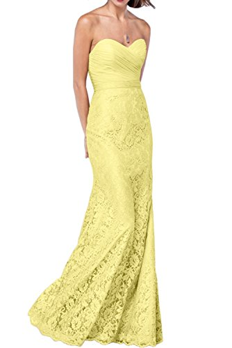 DressyMe Women's Vogue Strapless Evening Dress Lace Wedding Gown Pleated Sash-17W-Daffodil