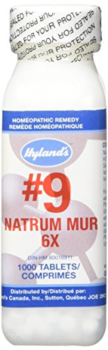 Relief of Headache, Constipation, Heartburn, and Bloating, Natural Remedy for Headaches, Water Retention, Indigestion, Colds, Heartburn, Gastric Upset, Hyland's #9 Natrum Muriaticum 6X, 1000 Tablet from Hyland's