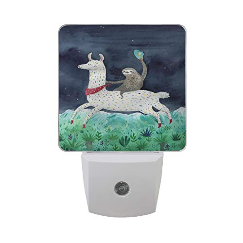 Night Light Sloth Riding Llama Led Light Lamp for Hallway, Kitchen, Bathroom, Bedroom, Stairs, Daylight White, Bedroom, Compact