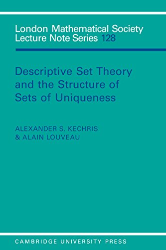 - Descriptive Set Theory and the Structure of Sets of Uniqueness (London Mathematical Society Lecture Note Series Book 128)