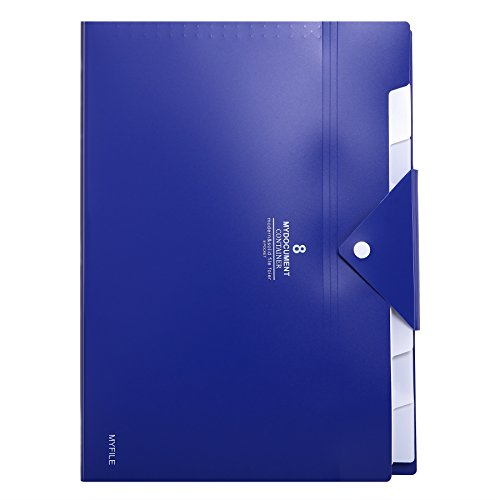 Skydue Office File Folders with 8 Pockets Letter Size Expanding Accordion Document Paper File Organizer (Navy Blue)