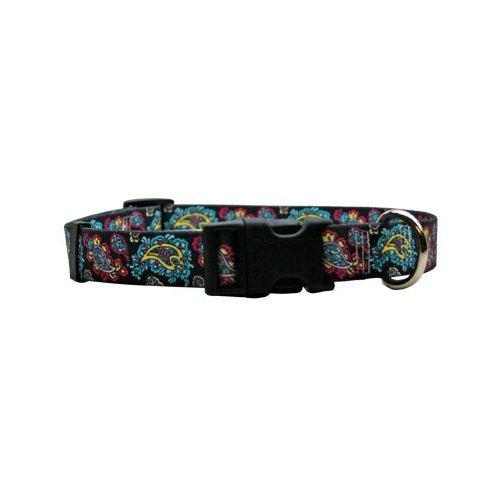 Paisley Dog Leash - Bohemian Paisley Black Dog Collar - Size Medium 14