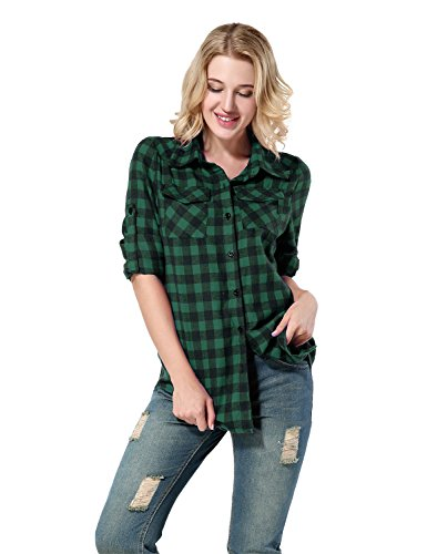 Yidarton Women's Long Sleeve Plaid Shirt Casual Loose Pocket Button Down Shirts(green+l)