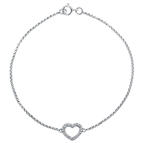 14k White Gold Diamond Heart Link Bracelet (14k White Gold Diamond Heart Bracelet (.05cttw, JK, I2-I3), 7