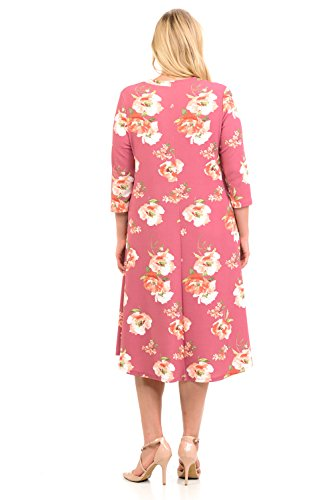 Trapeze Dress Rose Midi Women's Textured Mauve with in Mao Size by Plus Vivienne Floral Pastel Collar wfZq1xYIW