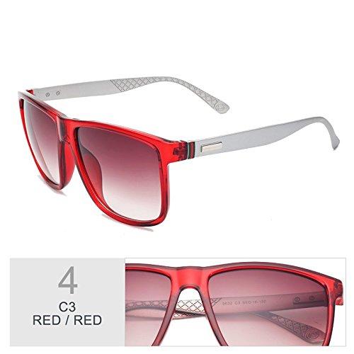 enormes TL Mujer Gafas gafas marrón de bastidor cuadrado Red sol Sunglasses Red UV400 sol Unas marrón Moda de qrWgUErv