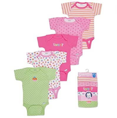 Gerber Baby-Girls Newborn 5 Pack Variety Onesies Brand