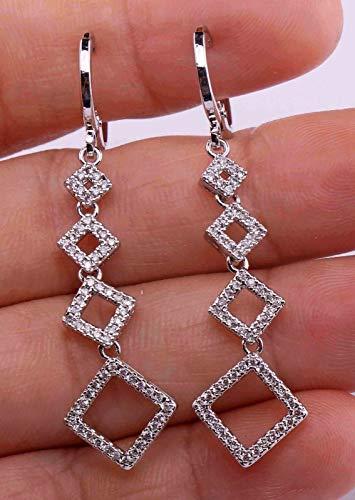 (1 Pair 18K White Gold Filled - 2 Hollow Square Rhombus Topaz Zircon Dangle Earrings)