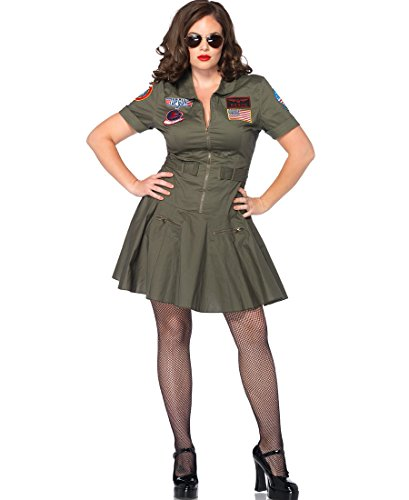 Leg Avenue TG85046X Plus Size Top Gun Flight Suit Adult Costume - 1X-2X - Khaki