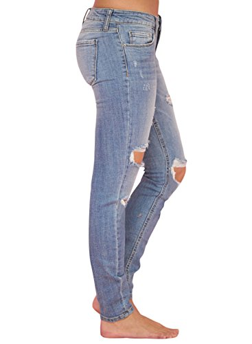 cd8a43d2972c5 Sidefeel Women Casual Faded Wash Distressed Skinny Jeans X-Large Light Blue