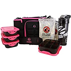 6 Pack Fitness Insulated Meal Prep Bag, Innovator 300 Black/Neon Pink (3 Meal)