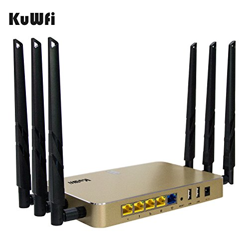 KuWFi High Power Wireless Gigabit Router, wireless Gigabit Access Point 802.11 ac router 1200Mbps Cover Long Area Support more than 100Users easy to Use Through walls 2000mW 128M DDR2 RAM for Home by KuWFi (Image #1)