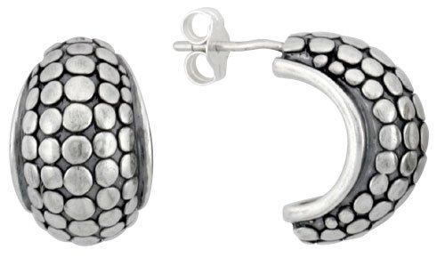 (Sterling Silver Half Hoop Bali Style Beaded Post Earrings, 5/8 inch (16 mm) tall)