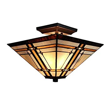 Image of Amora Lighting Tiffany Style Ceiling Fixture Lamp Mission 14' Semi Flush Mount Wide Stained Glass Tan Brown Antique Vintage Light Decor Living Room Bedroom Kitchen Hallway Gift AM085CL14B, Multicolor Home Improvements