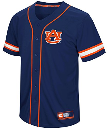 Colosseum Auburn Tigers NCAA Play Ball Men's Button Up Baseball - Logo Tigers Auburn Jersey