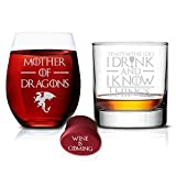 I Drink and I know Things Whiskey Highball and Mother of Dragons Wine Glass - Set of 2 -