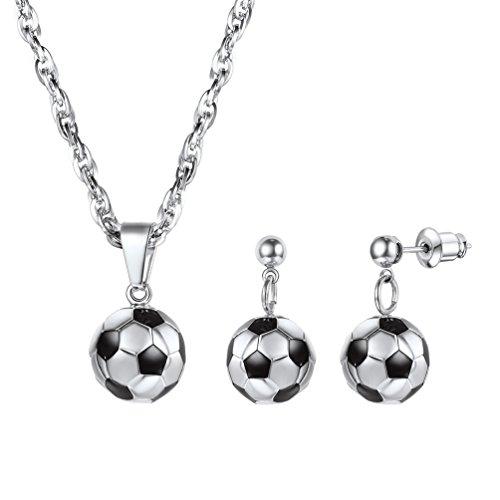 PROSTEEL Soccer Ball Football Charm Pendant Necklace Drop Earrings Set Birthday Gift Stainless Steel Sport Girl Women 3D Jewelry Set