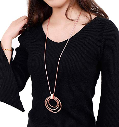 (NVENF Long Sweater Chain Double Circle Pendant Necklace Bold Snake Chain Women Statement Necklace (Rose Gold Triple))
