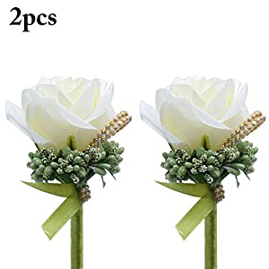 Coxeer 2PCS Wedding Boutonniere Exquisite Artificial Flower Corsage Wedding Corsage 101