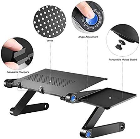 Table de Chevet Pliable avec Support pour Ordinateur Portable à Hauteur réglable pour Ordinateur Portable, Noir, Maison/Bureau