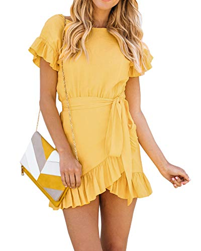 Casual Mini Dress - Youxiua Womens Wrap Ruffle Dresses Short Sleeve Casual Party Empire Waist Belts Mini Dress (Large, A-Yellow)
