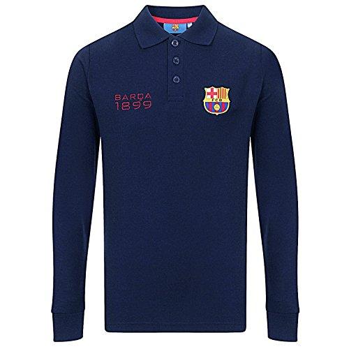 FC Barcelona Official Gift Boys Long Sleeve Polo Shirt Navy 8-9 Years (Fc Barcelona Kids Long Sleeve)