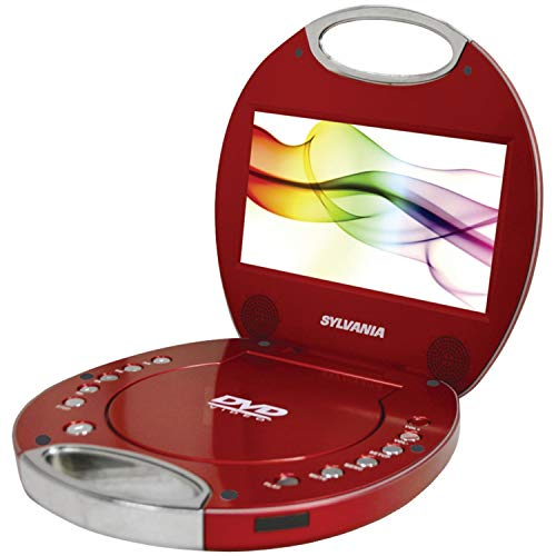 Sylvania SDVD7046-Red 7-Inch Portable DVD Player with Integrated Handle, Red (Renewed) (Sylvania 7 Portable Dvd Player)
