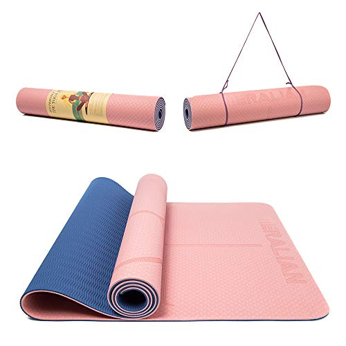 """Yoga Mat, Eco Friendly Non Slip Exercise TPE Yoga Mat with Body Alignment System, Large Fitness Mat 72 """"Lx26″Wx1/4 inch."""