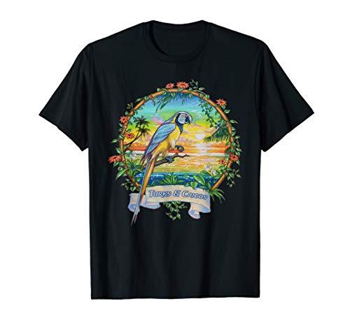 (Vintage Tropical Sunset Beach Parrot Trip to Turks & Caicos T-Shirt)
