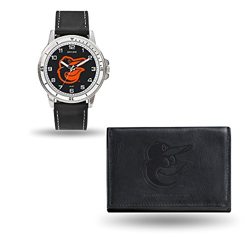MLB Baltimore Orioles Men's Watch and Wallet Set, Black, 7.5 x 4.25 x 2.75-Inch Baltimore Orioles Black Leather