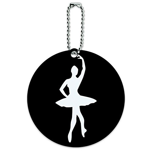 Ballet Ballerina Round Luggage ID Tag Card Suitcase Carry-On