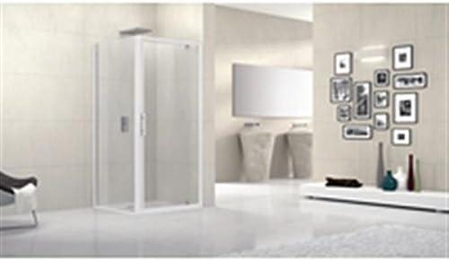 Mampara de ducha lunes F 96 cm extensible hasta 102 cm, fijo, reversible, para instalación con una puerta en ángulo, en Vidrio tra: Amazon.es: Hogar