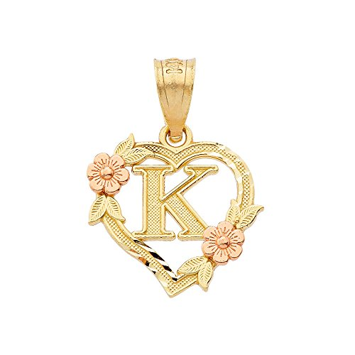 10k Two-Tone Initial Heart Pendant for Women in Yellow and Rose Gold - Letter K (Heart 10k Pendant Gold Necklace)