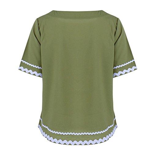 Estilo japonés del verano de la muchacha El color sólido simple del desgaste del hogar empapó la camiseta ocasional Tops dulces de la camiseta Army Verde