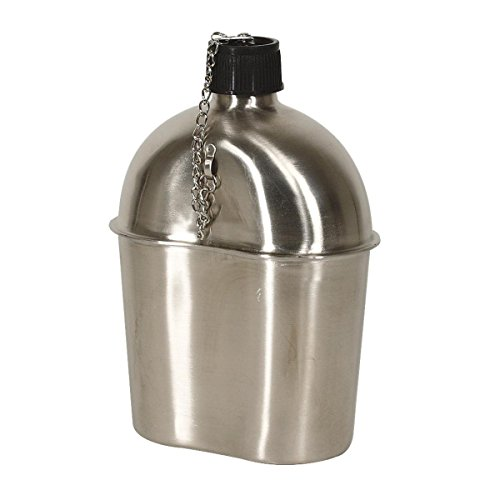 Mil-Spec Adventure Gear Plus MSA02-0123055000 Wwii Style Canteen, Stainless Steel by Mil-Spec Adventure Gear Plus
