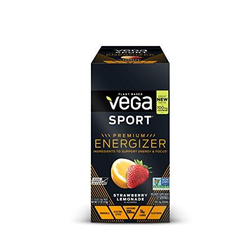 New Vega Sport Premium Energizer Strawberry Lemonade (12 Count, 0.6oz) - Vegan,  Gluten Free, All Natural, Pre Workout Powder, Non GMO