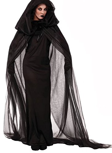 Coustume Ideas (XHSP Witch Ghost Dress Night Wandering Soul Black Hooded Gauze Cloak Nightclub Halloween Party Cosplay Costume)