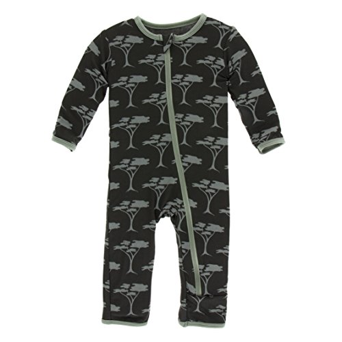 Kickee Pants Little Girls Print Coverall with Zipper - Zebra Acacia Trees, 18-24 Months ()