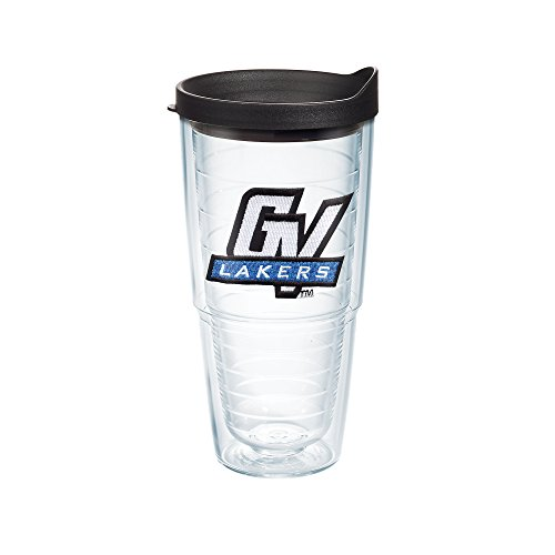 Tervis 1125339 Grand Valley State Lakers Logo Tumbler with Emblem and Black Lid 24oz, Clear (Grande Kitchen)